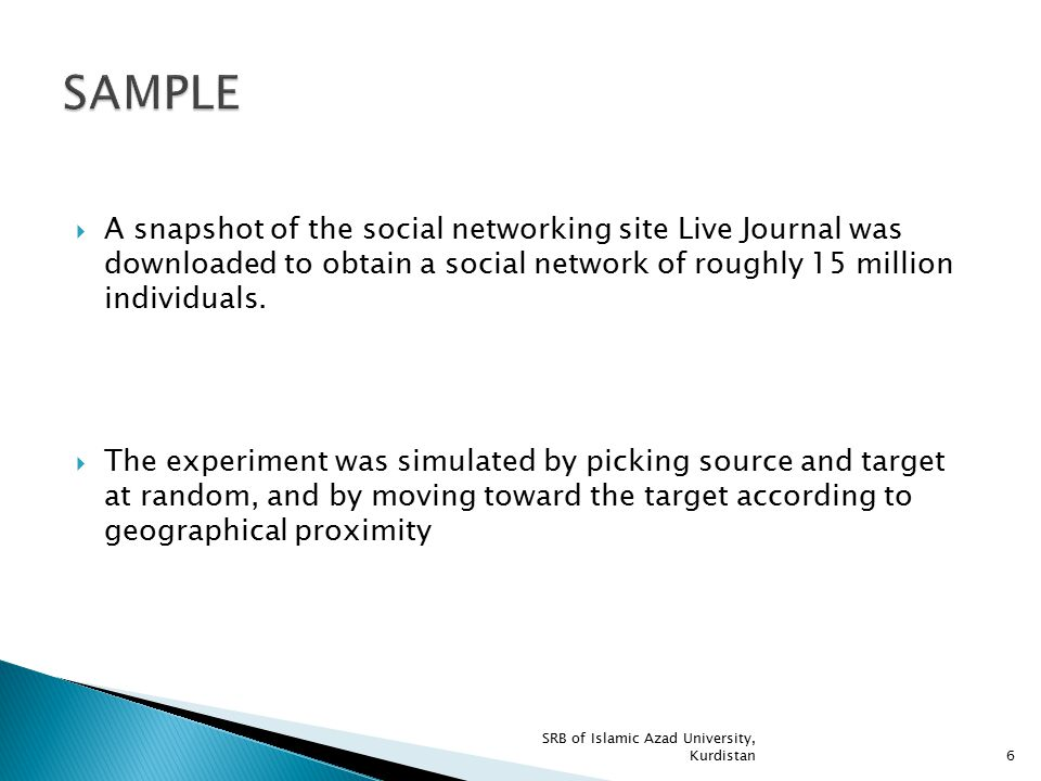 SAMPLE A snapshot of the social networking site Live Journal was downloaded to obtain a social network of roughly 15 million individuals.