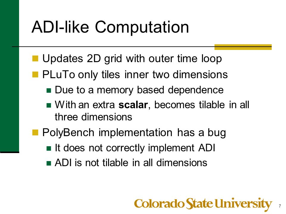 ADI-like Computation Updates 2D grid with outer time loop