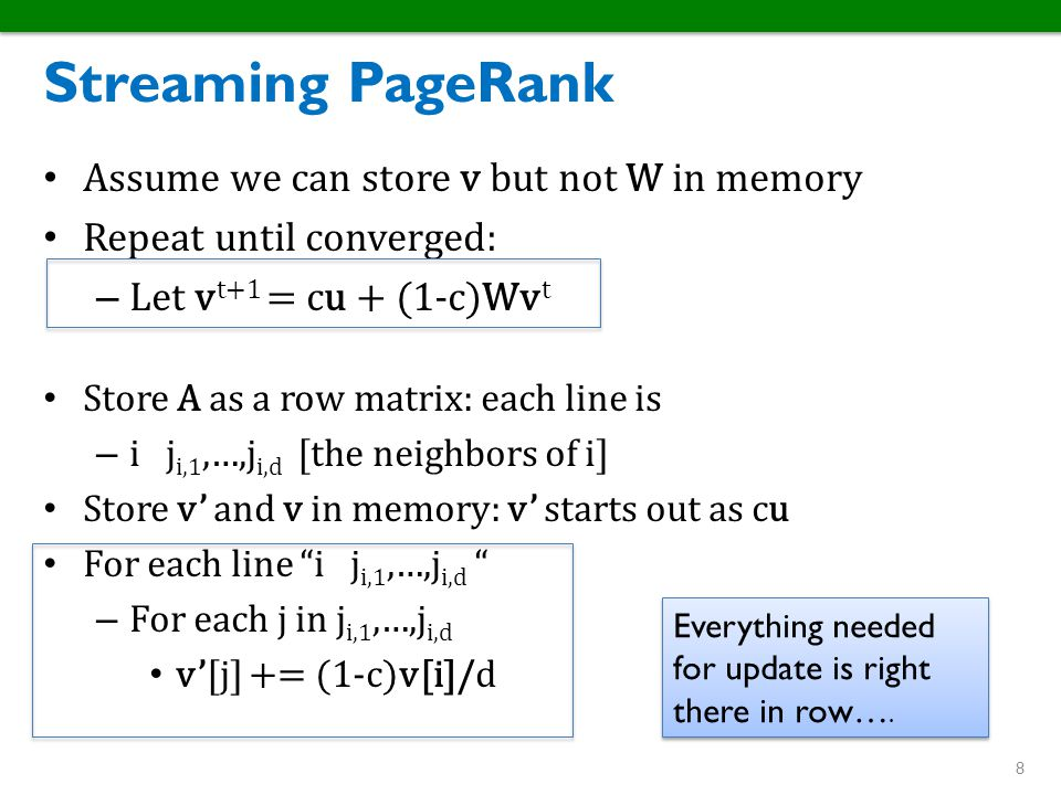 Streaming PageRank Assume we can store v but not W in memory