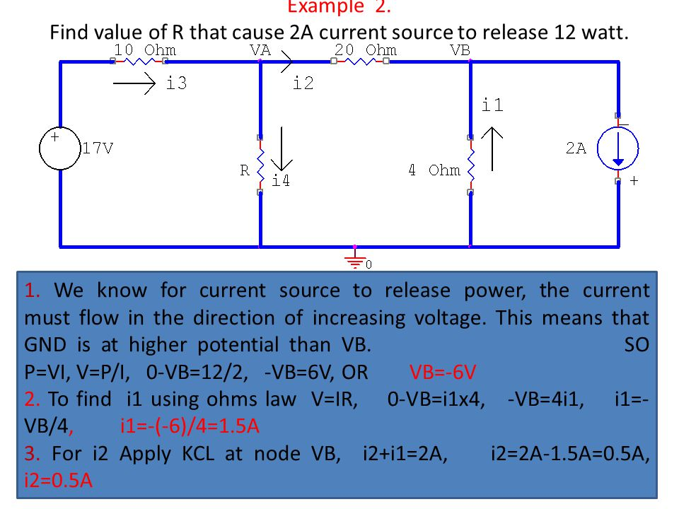 Example 2. Find value of R that cause 2A current source to release 12 watt.