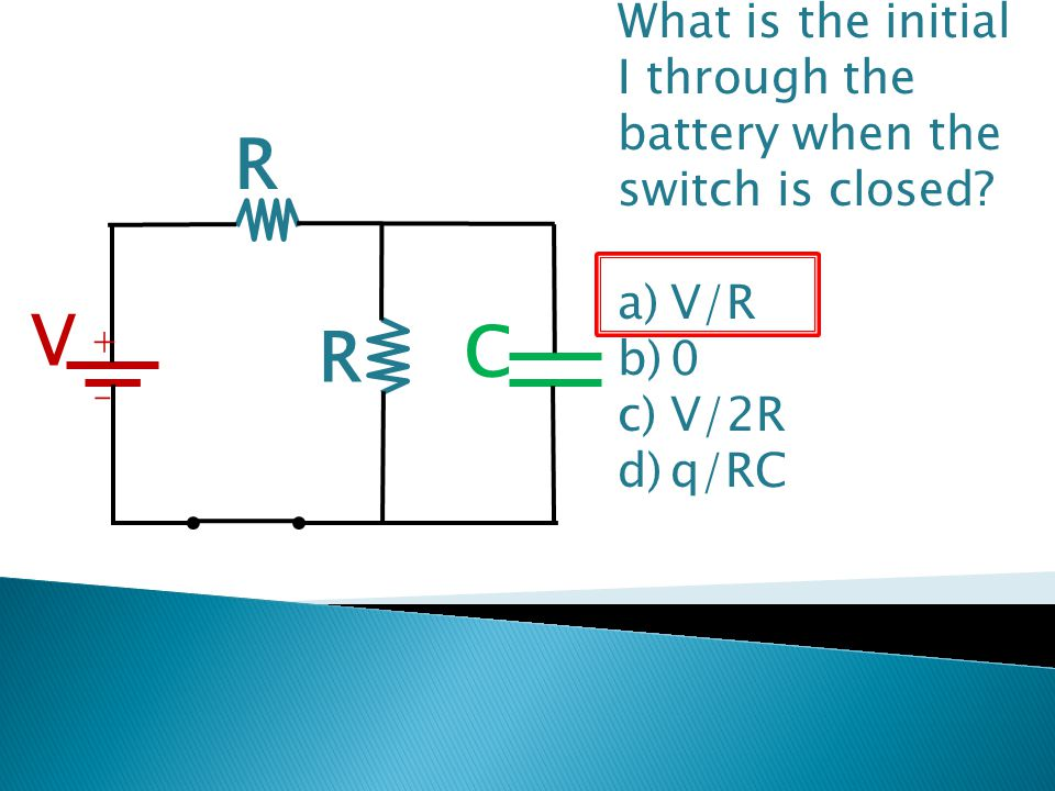 What is the initial I through the battery when the switch is closed