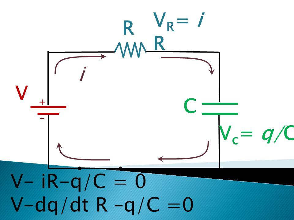 VR= i R R i V + C - Vc= q/C V- iR-q/C = 0 V-dq/dt R –q/C =0
