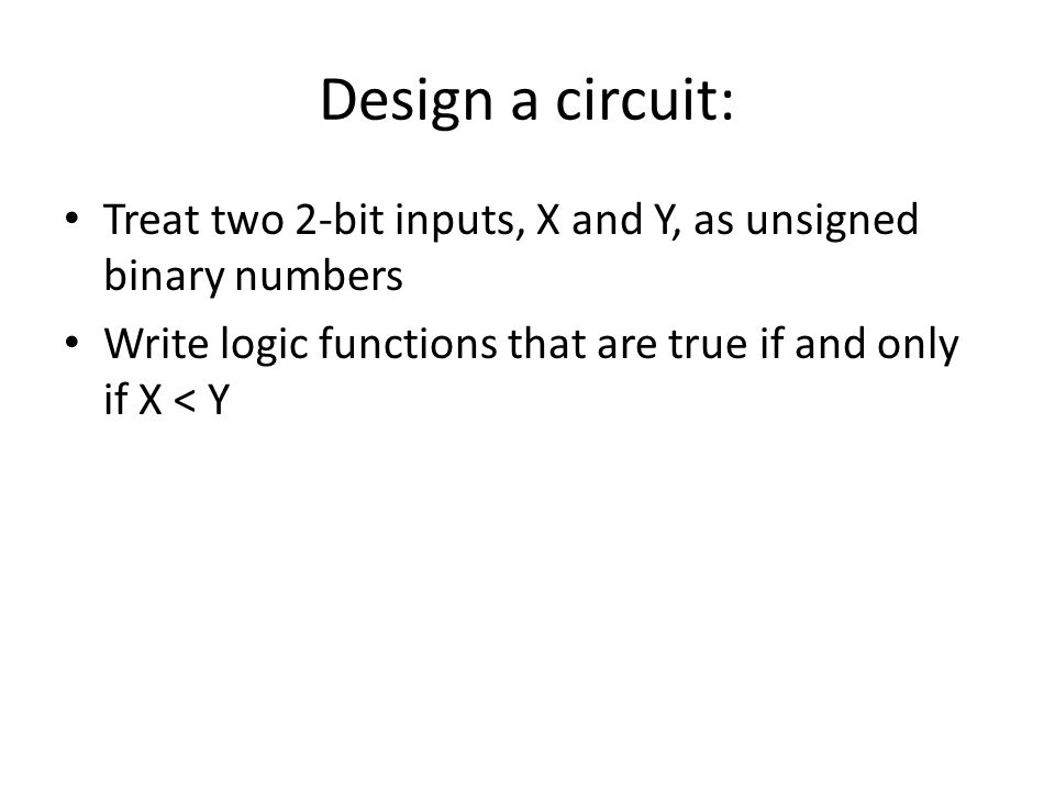 Design a circuit: Treat two 2-bit inputs, X and Y, as unsigned binary numbers.