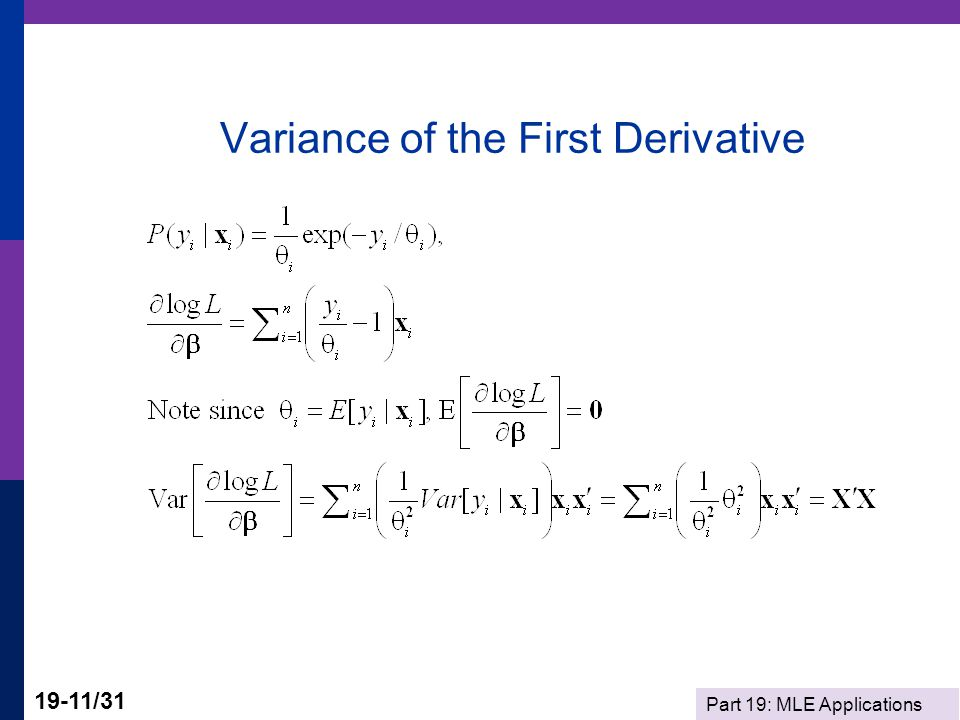 Variance of the First Derivative