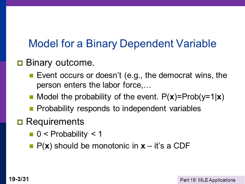 Model for a Binary Dependent Variable