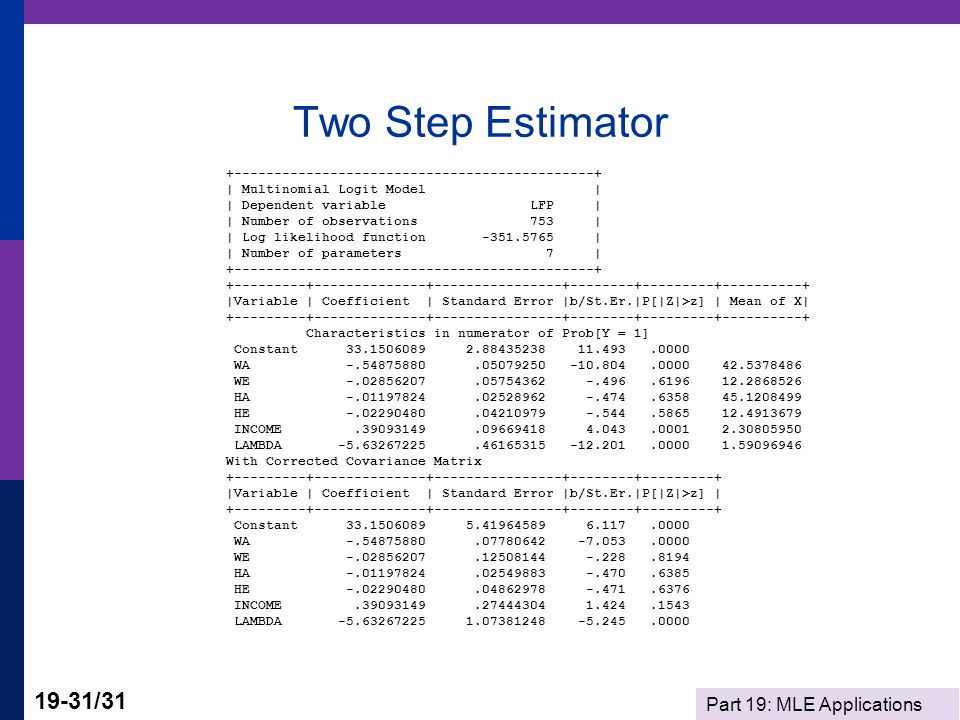 Two Step Estimator +---------------------------------------------+