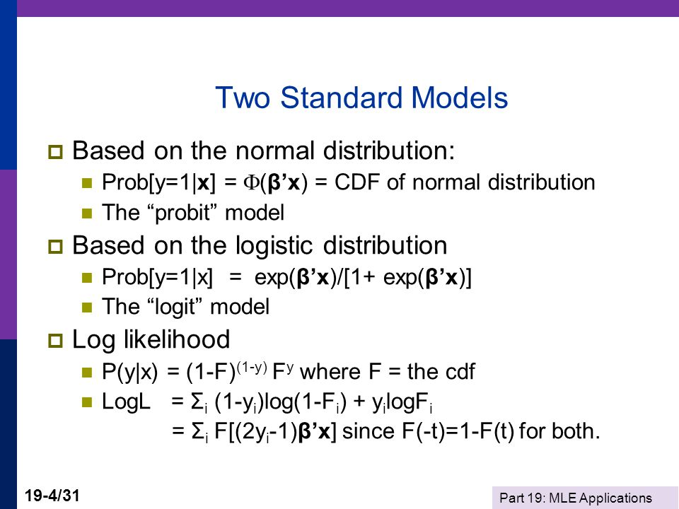 Two Standard Models Based on the normal distribution: