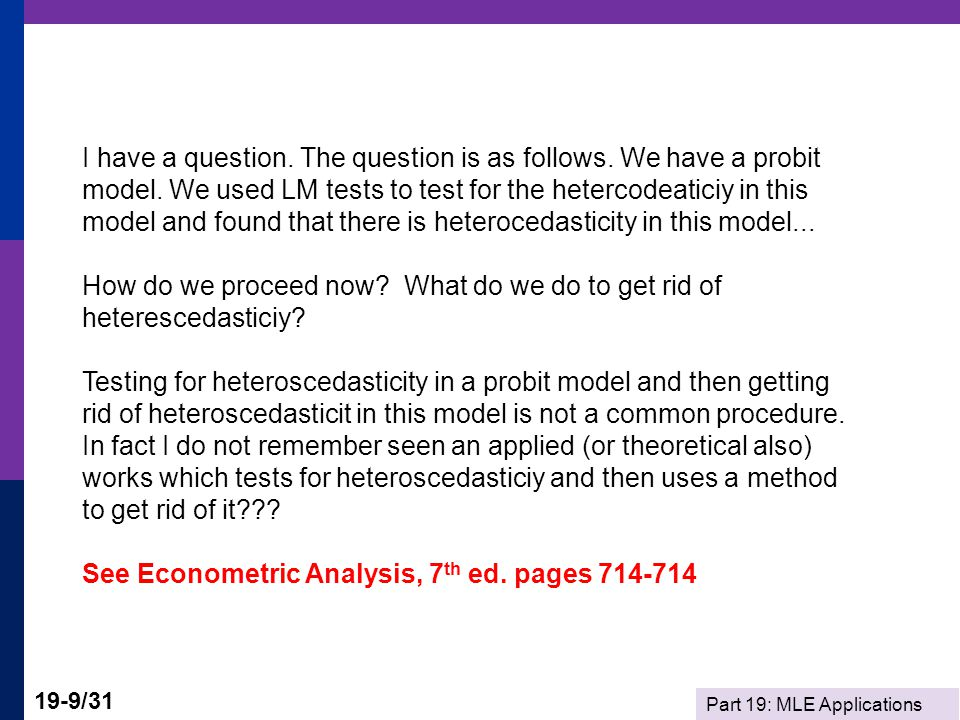 I have a question. The question is as follows. We have a probit model