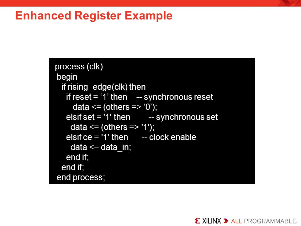 Enhanced Register Example
