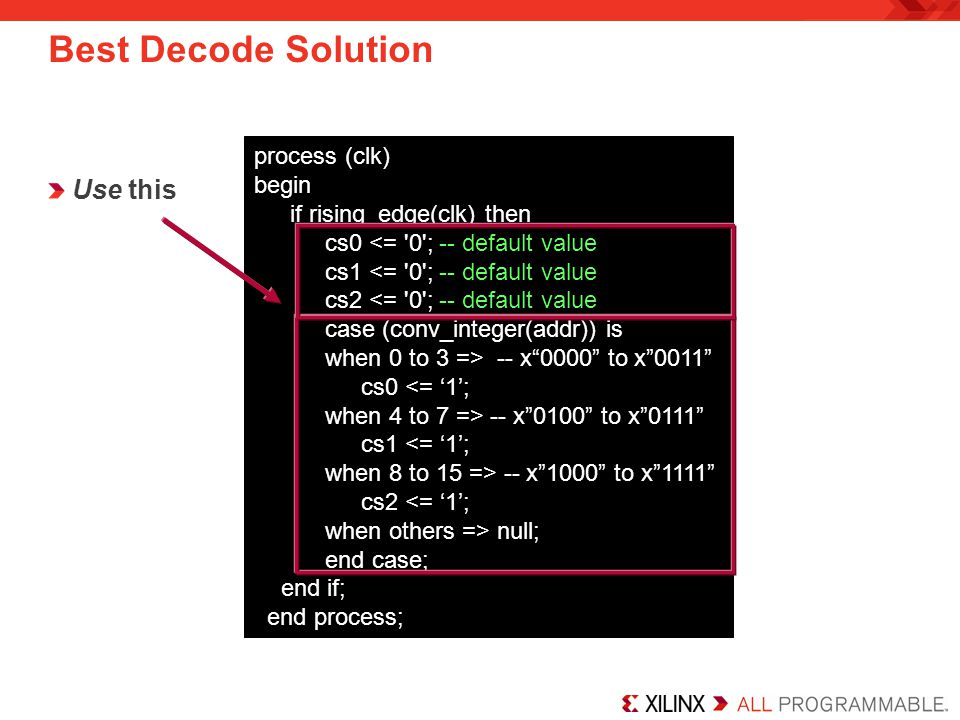 Best Decode Solution Use this process (clk) begin