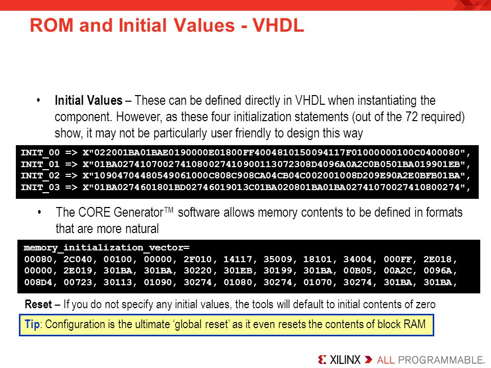 ROM and Initial Values - VHDL