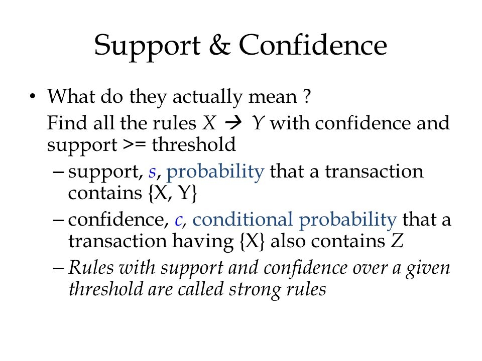 Support & Confidence What do they actually mean