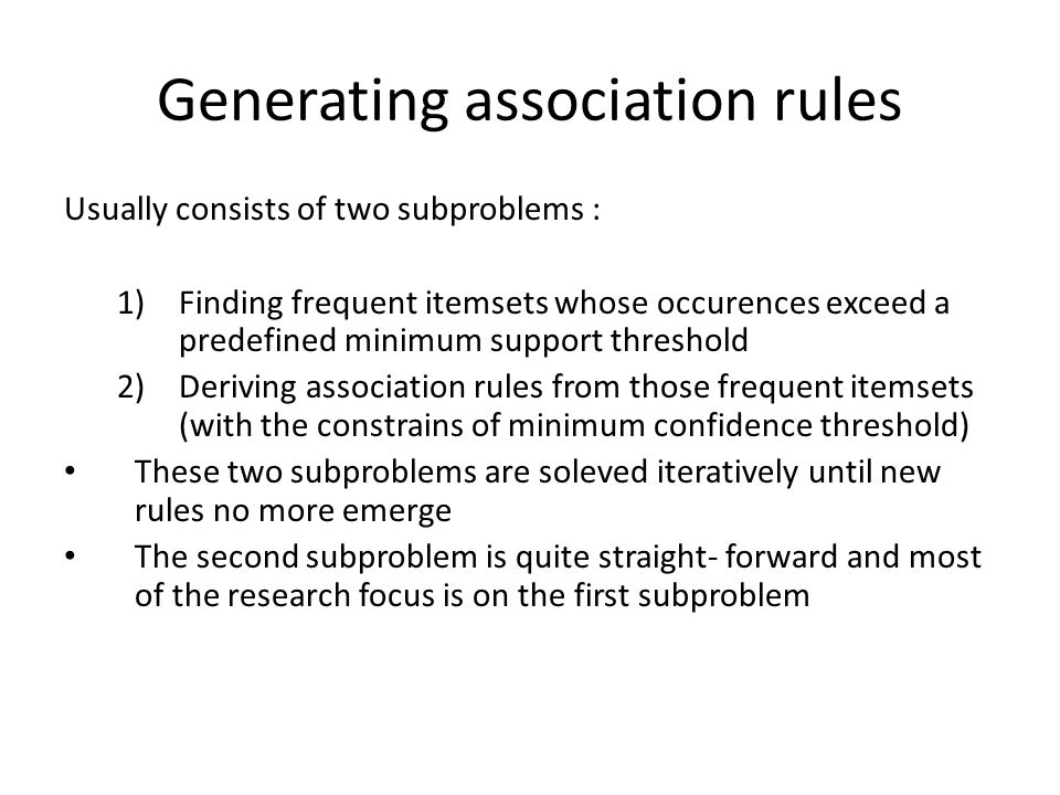 Generating association rules