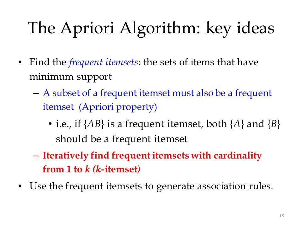 The Apriori Algorithm: key ideas