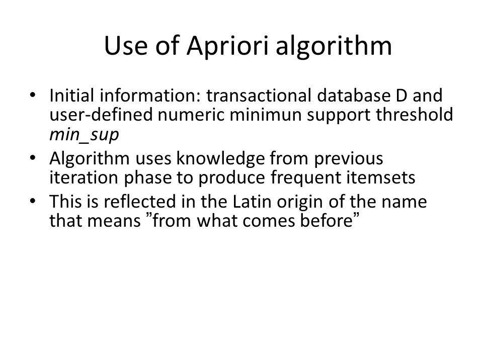 Use of Apriori algorithm