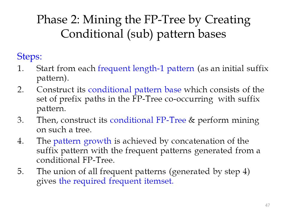 Phase 2: Mining the FP-Tree by Creating Conditional (sub) pattern bases