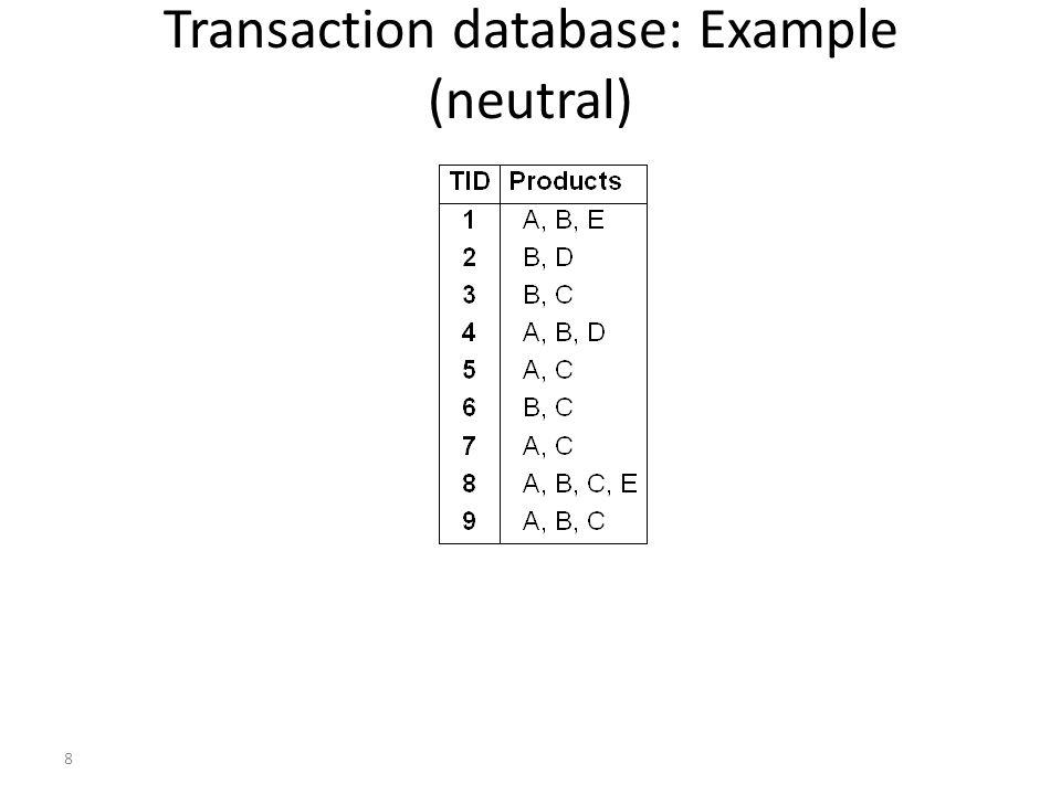 Transaction database: Example (neutral)