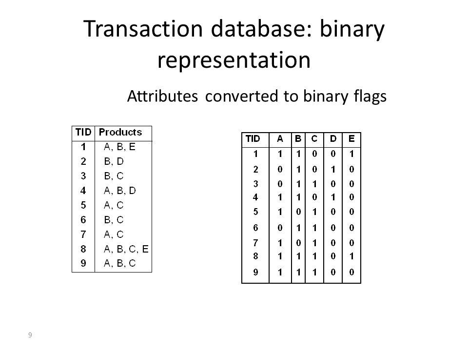 Transaction database: binary representation