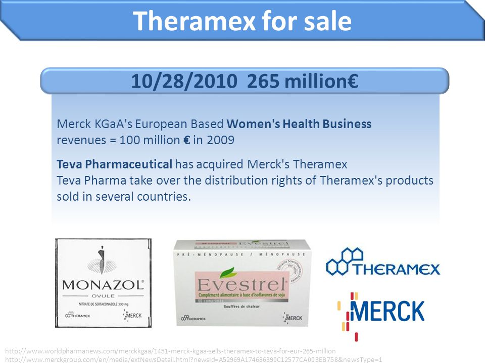 Theramex for sale 10/28/2010 265 million€