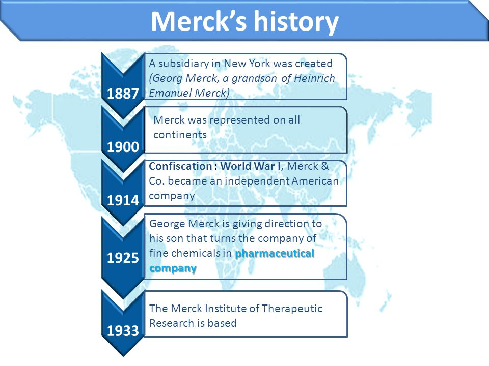 Merck's history 1887. A subsidiary in New York was created (Georg Merck, a grandson of Heinrich Emanuel Merck)