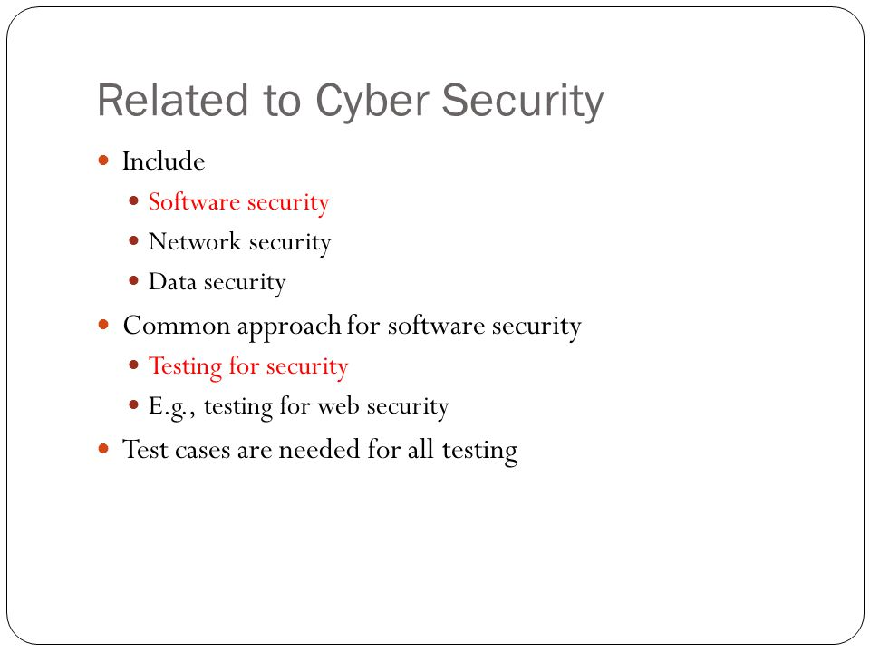 Related to Cyber Security