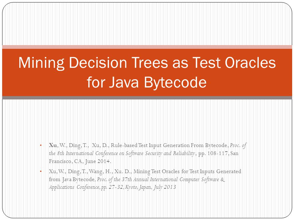 Mining Decision Trees as Test Oracles for Java Bytecode