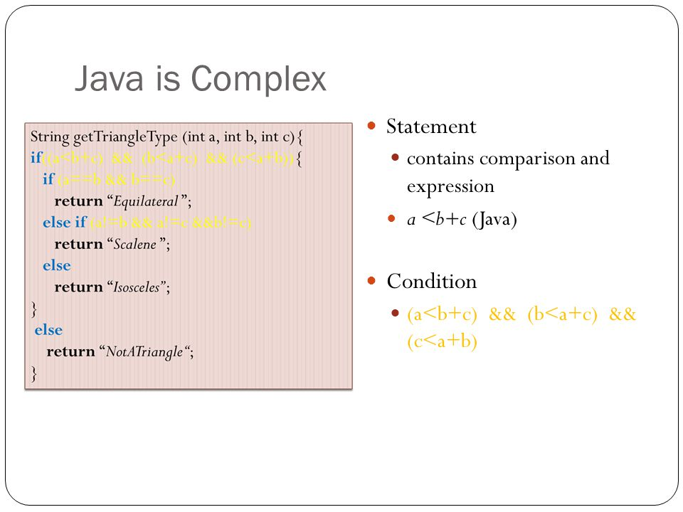Java is Complex Statement Condition contains comparison and expression