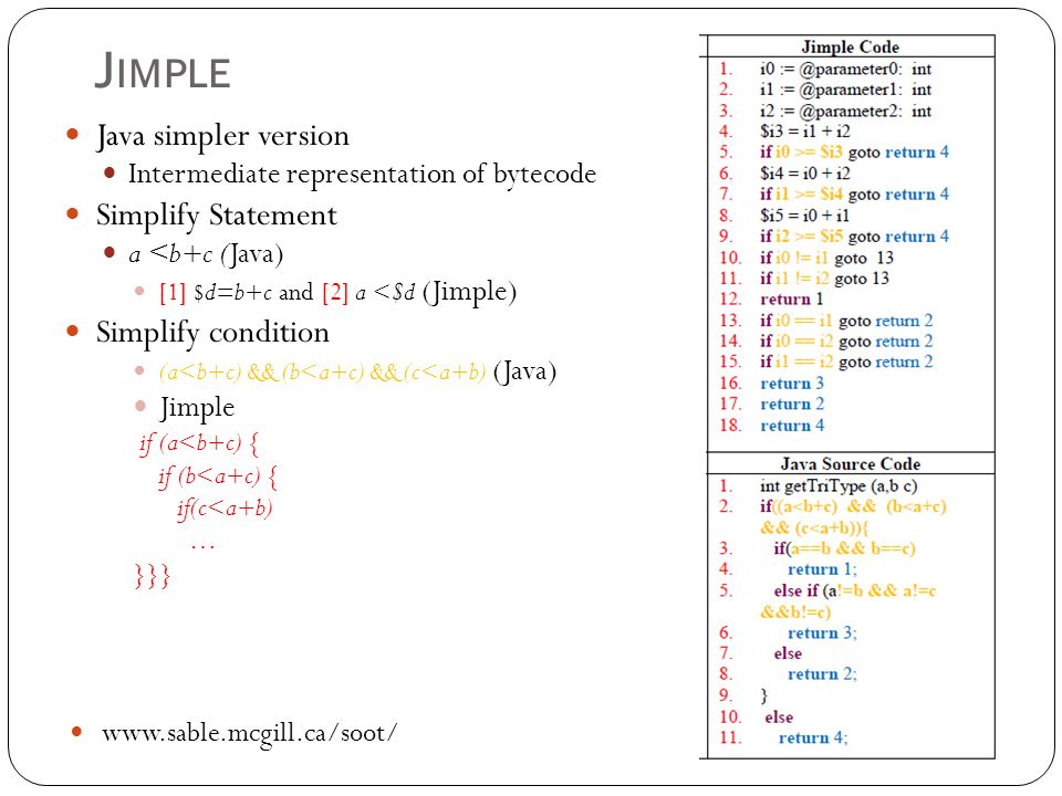 Jimple Java simpler version Simplify Statement Simplify condition