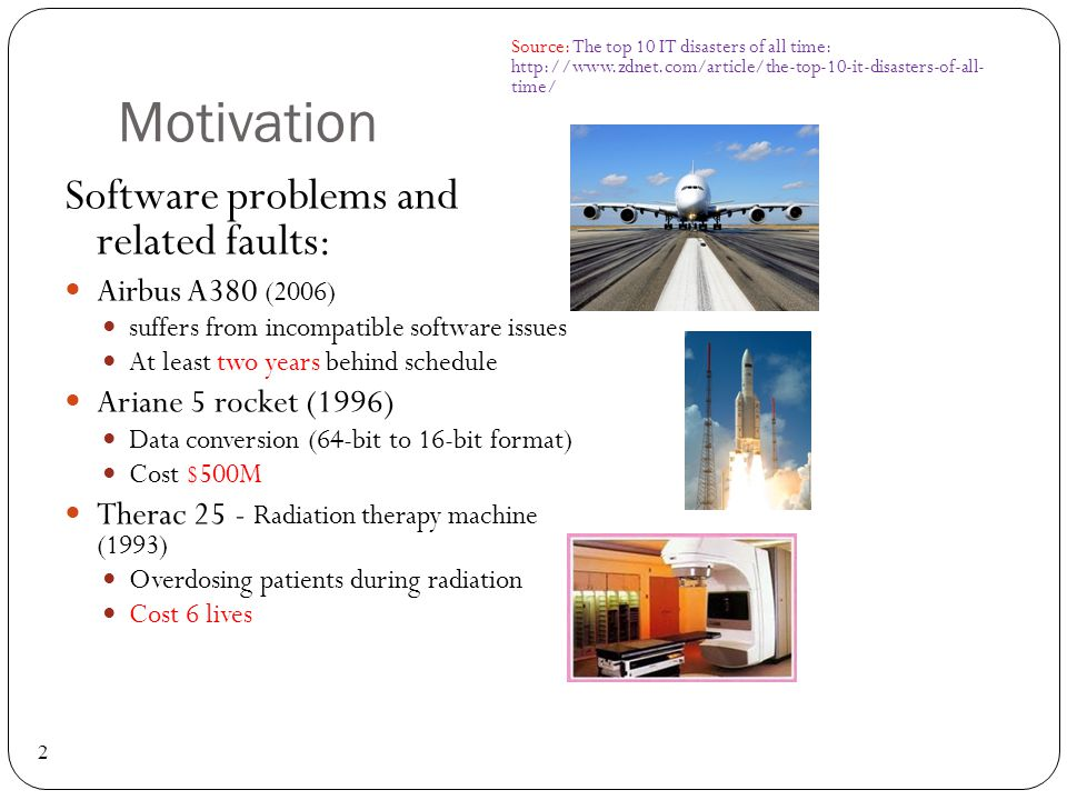 Motivation Software problems and related faults: Airbus A380 (2006)
