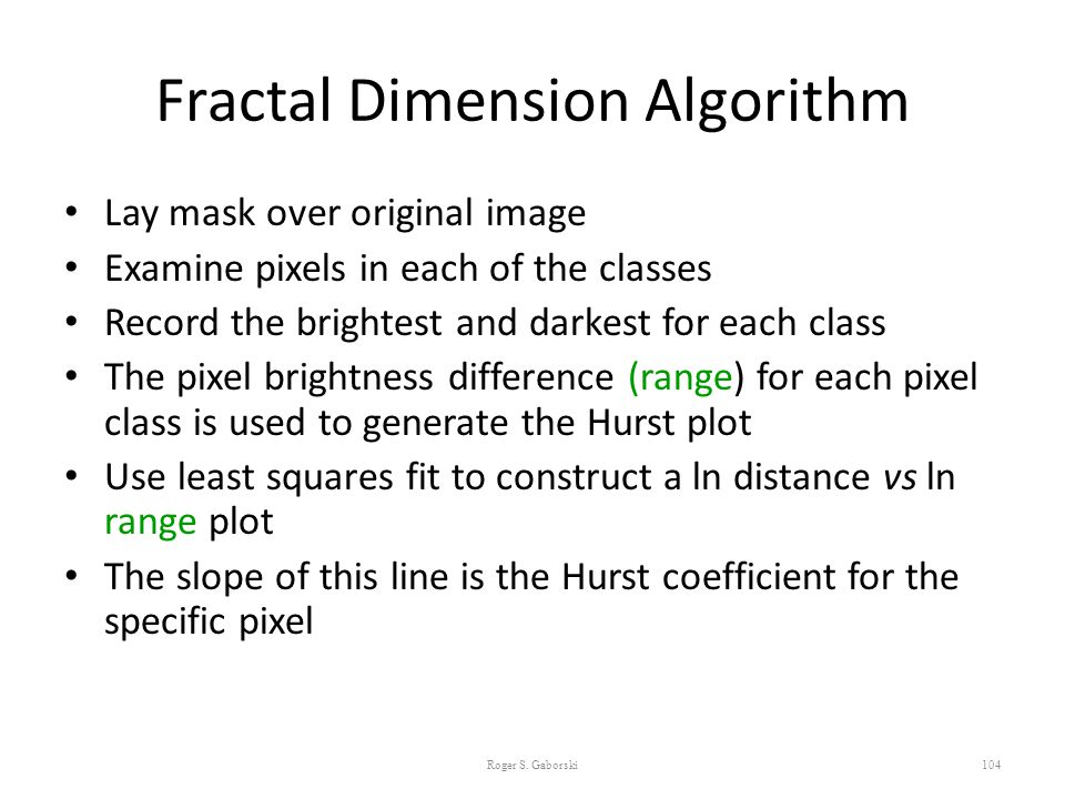Fractal Dimension Algorithm