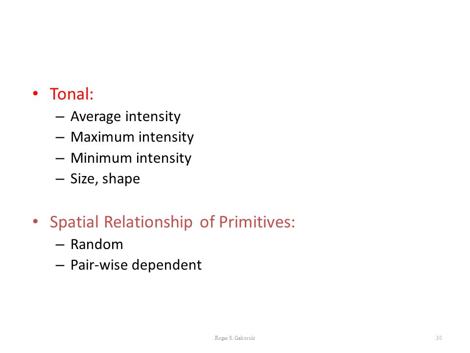 Spatial Relationship of Primitives: