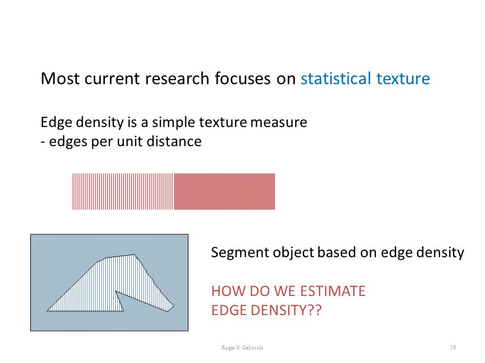 Most current research focuses on statistical texture