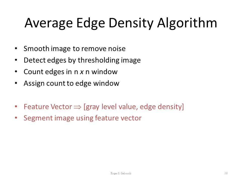 Average Edge Density Algorithm