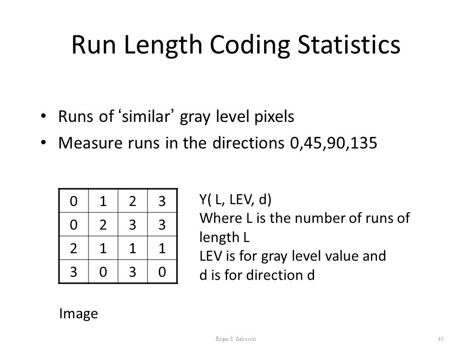 Run Length Coding Statistics