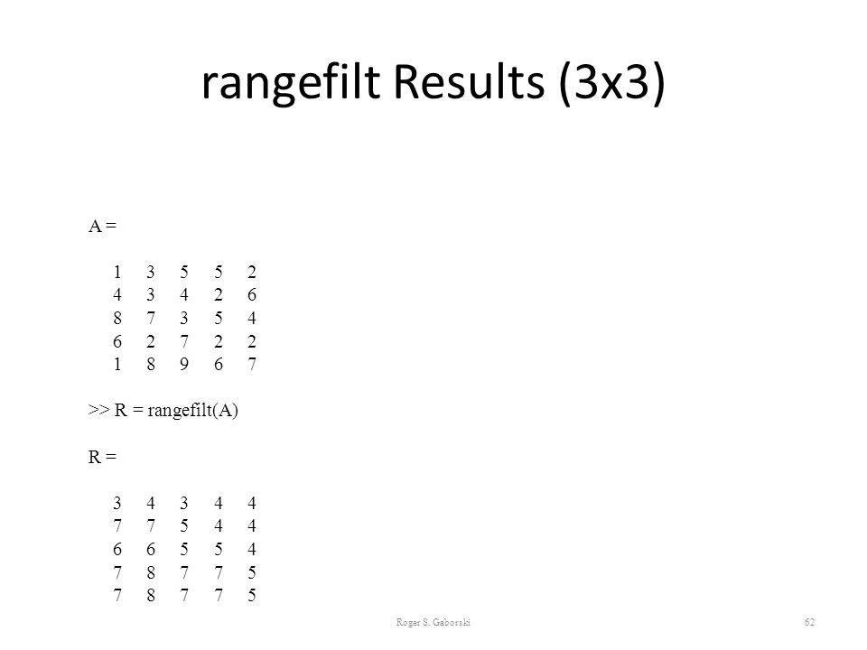 rangefilt Results (3x3) A = 1 3 5 5 2 4 3 4 2 6 8 7 3 5 4 6 2 7 2 2