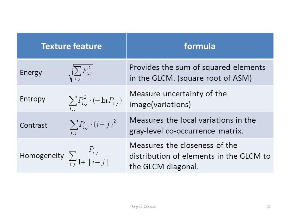 Texture feature formula