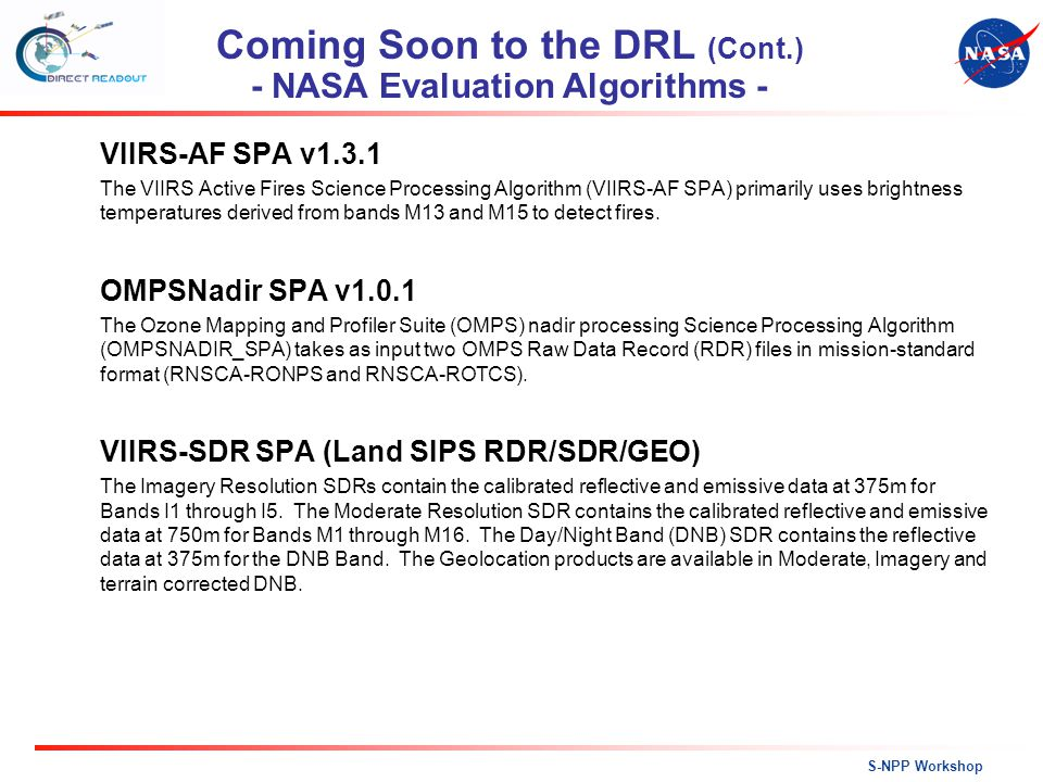 Coming Soon to the DRL (Cont.) - NASA Evaluation Algorithms -