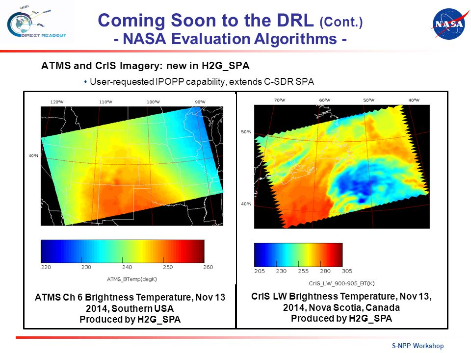 ATMS and CrIS Imagery: new in H2G_SPA