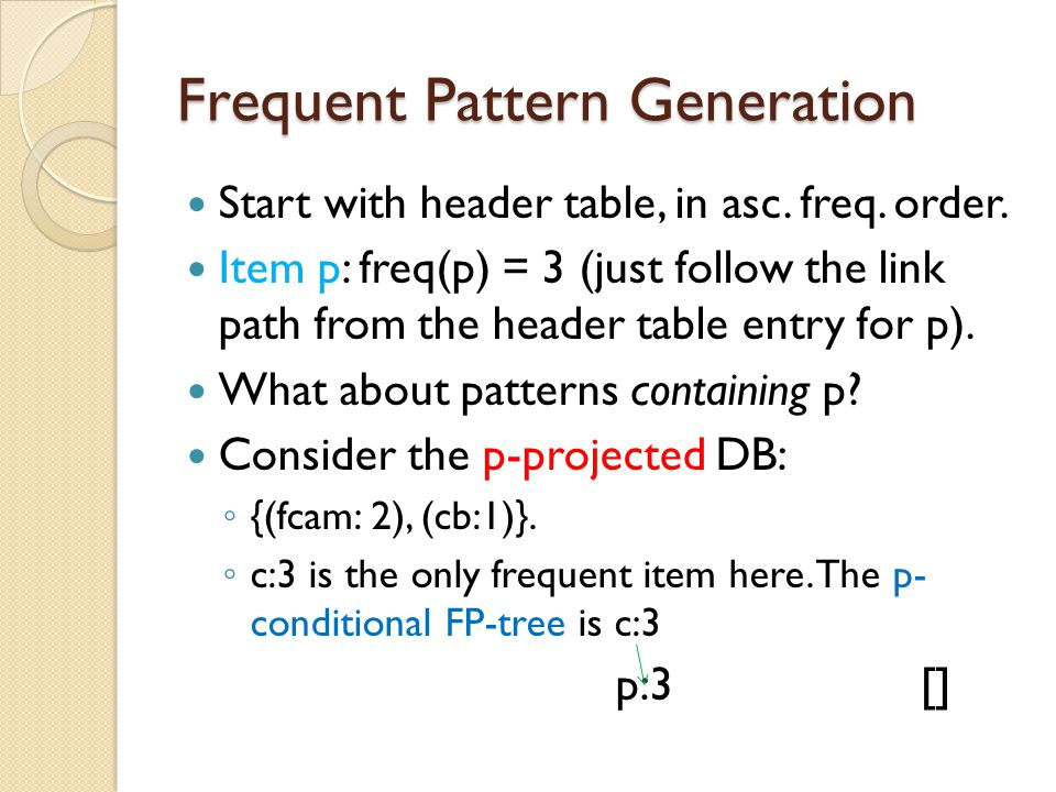 Frequent Pattern Generation