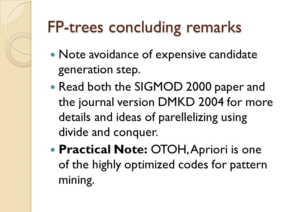 FP-trees concluding remarks