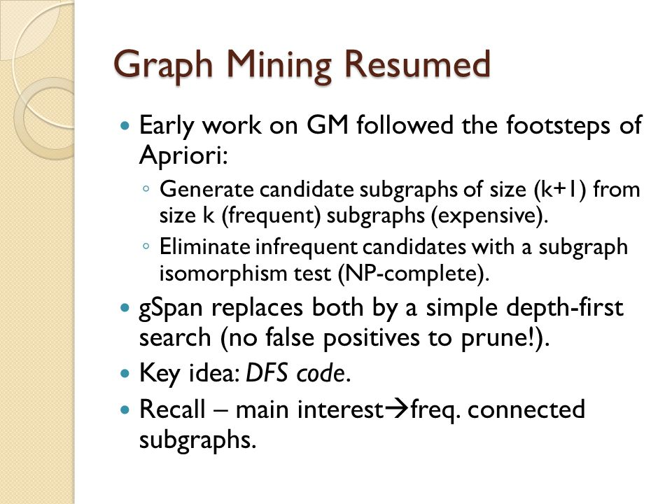 Graph Mining Resumed Early work on GM followed the footsteps of Apriori: