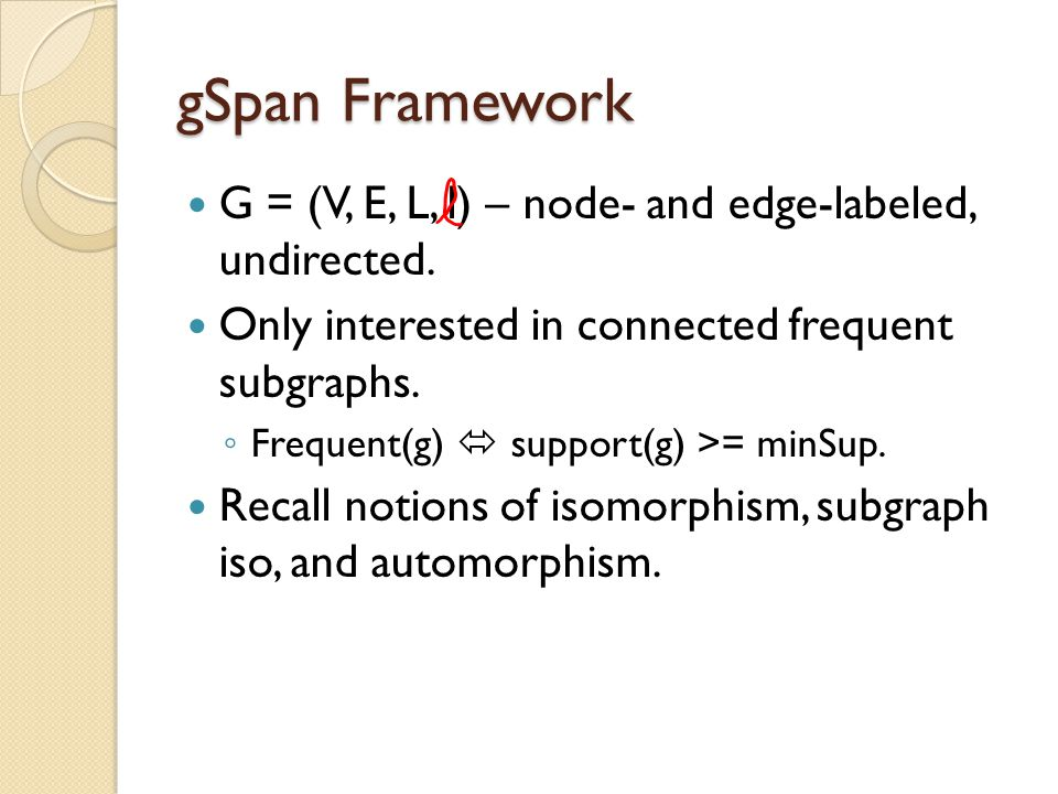 gSpan Framework G = (V, E, L, l) – node- and edge-labeled, undirected.