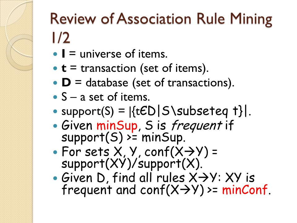 Review of Association Rule Mining 1/2