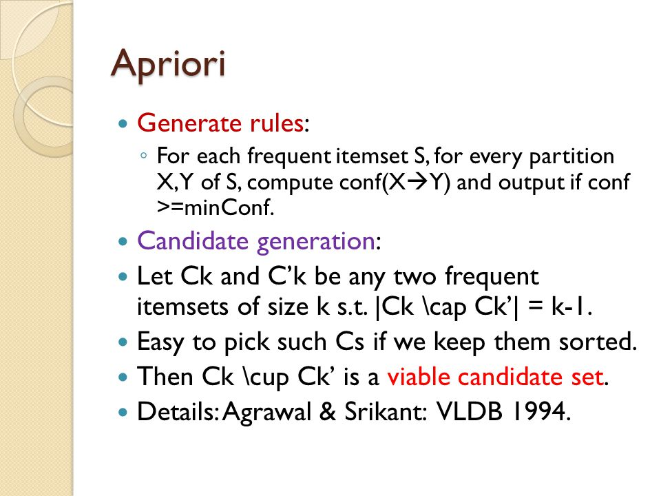 Apriori Generate rules: Candidate generation: