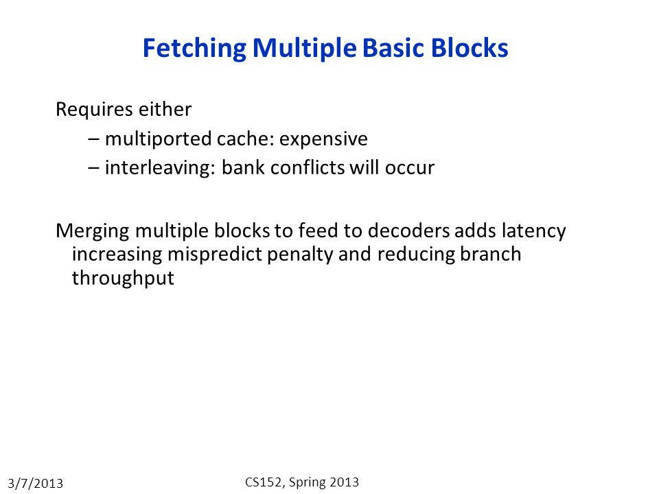 Fetching Multiple Basic Blocks