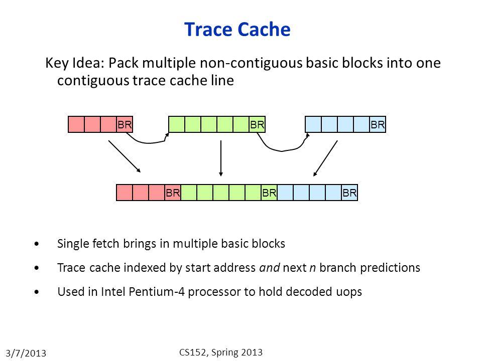 Trace Cache Key Idea: Pack multiple non-contiguous basic blocks into one contiguous trace cache line.