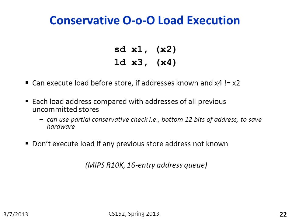Conservative O-o-O Load Execution