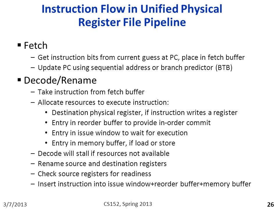 Instruction Flow in Unified Physical Register File Pipeline
