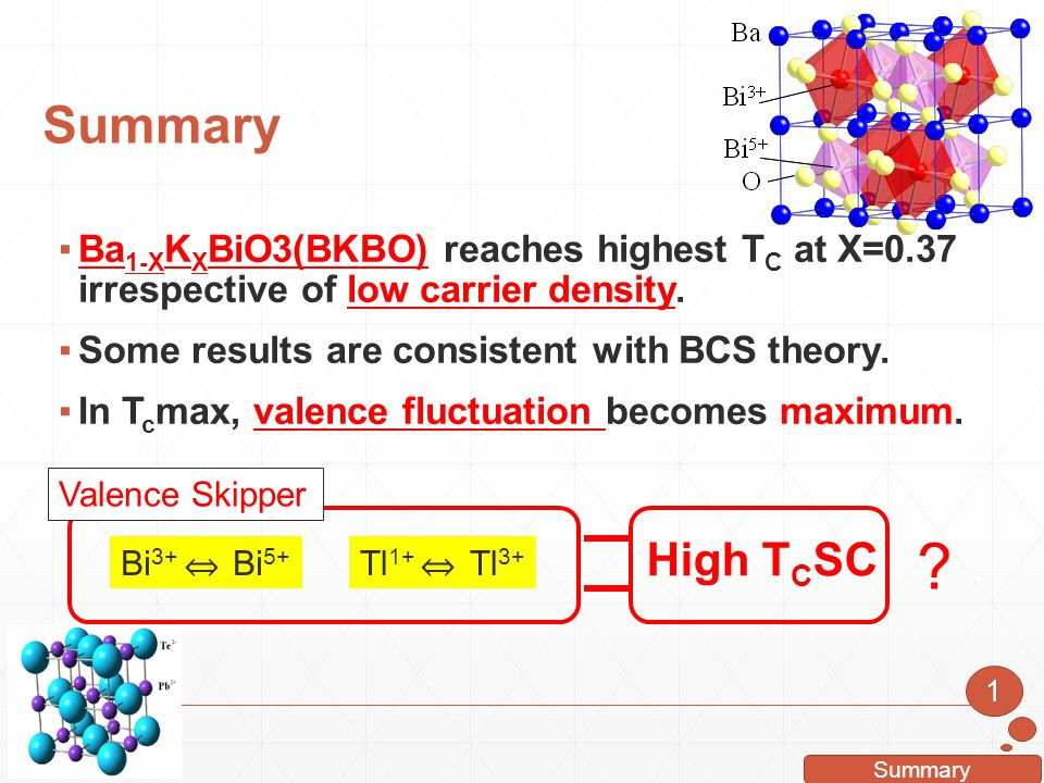 Summary Ba1-XKXBiO3(BKBO) reaches highest TC at X=0.37 irrespective of low carrier density. Some results are consistent with BCS theory.
