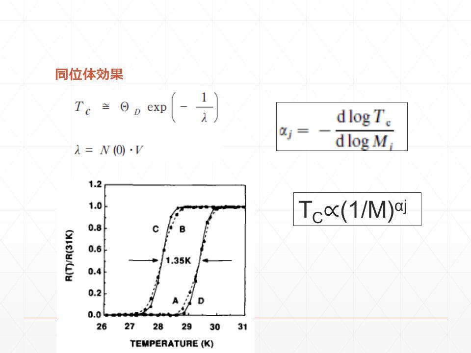 同位体効果 TC∝(1/M)αj